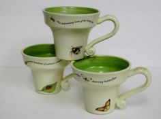 Garden Themed Butterfly Lady BUG BEE Flower POT Shaped Coffee Mugs SET OF 3 | eBay