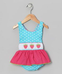 Take a look at this Light Turquoise Polka Dot Strawberry One-Piece - Infant & Toddler by Fairies Kid on #zulily today!