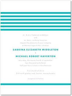 Letterpress Wedding Invitations Modern Stripes - Front : Orange