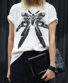 I like the texture of the skirt...I would wear the tee more fitted....
