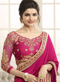 Prachi Desai: Aspiring to make a mark in the world of style, here is the attire to breath life into your aspirations. You are sure to make a strong fashion statement with this Prachi Desai hot pink art silk designe. Pink Saree Silk, Silk Sarees, Pink Silk, Lehenga Choli, Blouse Designs Silk, Blouse Patterns, Wedding Saree Blouse Designs, Wedding Sarees, Sari Bluse