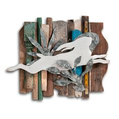 Wild Hare Rescued Wood Construction artwork by Dolan Geiman #white #rabbit #art