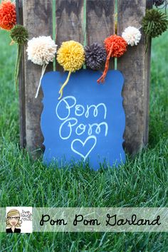 pom pom garland_chalkboard - IF ONLY I could make a decent pom-pom! (so cheerful would be fun strung up for a party)