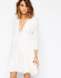 Robe blanche courte bordée de dentelle Aretha Ba&sh - ClicknDress