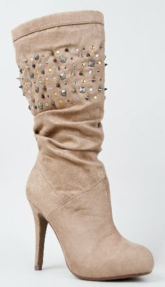 AwesomeNice PIN Studded Spike Slouchy Mid Calf High Heel Stiletto Boot