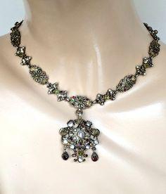 Antique Austro Hungarian Silver and Gold Multi Gem Necklace --Mosaicsandjewelry