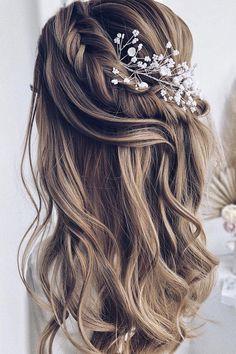 Half Up Half Down Short Hair, Wedding Hairstyles Half Up Half Down, Braided Half Up, Wedding Hairstyles For Long Hair, Down Hairstyles, Bride Hairstyles, Hairstyle Ideas, Hair Ideas, Updo Hairstyle