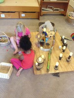 block play, fairy play, playing with loose parts, tree blocks, reggio inspired, play based, preschool play