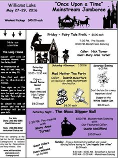 Poster from the Once Upon a Time Jamboree held in William's Lake BC.  An example of a very successful theme weekend.