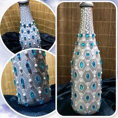 Wine Bottle Covers, Wine Bottle Art, Diy Bottle, Wine Bottles, Glass Bottles, Crown Royal Bottle, Bling Bling, New Project Ideas, Glass Bottle Crafts
