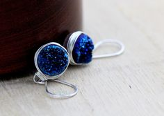 SALE Druzy Silver Earrings, Blue Agates Bezel Wrapped Cobalt Drops in Sterling Silver, Gifts Under 50 Free Shipping by SaressaDesigns on Etsy https://www.etsy.com/listing/153661613/sale-druzy-silver-earrings-blue-agates