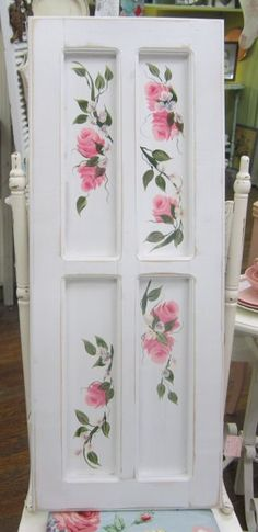Hey, I found this really awesome Etsy listing at https://www.etsy.com/listing/212174416/hand-painted-pink-roses-cabinet-door