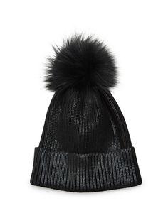Adrienne Landau Fox Fur Pom-Pom Metallic Beanie on SALE | Saks OFF 5TH Winter Hats, Fall Winter, Fur Pom Pom, Fox Fur, Head Wraps, Snowboarding, Beanie, Cozy, My Style