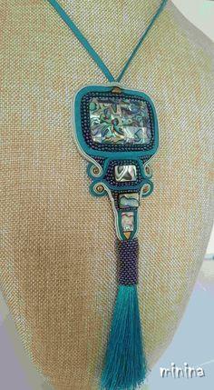 Soutache turquoise , abalone necklace