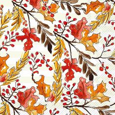 IHR Rosanne Beck Amber Foliage Fall Leaves Printed 3-Ply Paper Luncheon Napkins Wholesale L016800