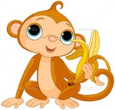 Stock Illustration - funny monkey with banana. fotosearch - search clipart, illustration posters, drawings and vector eps graphics imag. Jungle Animals, Forest Animals, Cute Animals, Illustration Singe, Photos Singe, Monkey Pictures, Heart Pictures, Pictures Images, Cute Baby Monkey