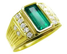 Yellow gold men's emerald rings