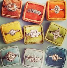 Perfect vintage engagement rings MARRY ME CHARLIE - www.marrymecharlie.com the top middle and the middle right I'm obsessed