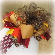 Fall Golden Over the Top Ostrich Feather Hair Bow OTT Boutique Pageant Hairbows