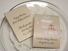 Tea Party Baby Shower Tea Bag Favors set of 10 by keepsakeimprints, $5.00
