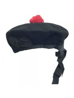 86d40e9f3d0 Scottish Beanie Glengarry Hat Plain Black with Red Pompom - Size 59 cm  Scottish hats and