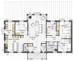 Планировка одноэтажного скандинавского<br /> коттеджа