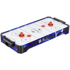 Hathaway Table Top Air Hockey (Royal Blue, 32 x 16 x 3.75-Inch) by Hathaway. $48.95. Hathaway's 32 in. economical Air Hockey table combines the thrill of air hockey with a compact design for easy storage. This tabletop model is lightweight, sturdy, and comes with its own 110V electric blower that floats the puck around on a cushion of air. Goal boxes with built in slide scorer makes scoring easy to track. The table comes complete with two large weighted strikers an...