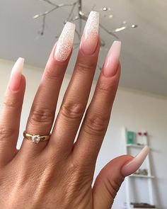 Blush pink + Silver Glitter Long Coffin Nails. Pretty! #nail #nailart