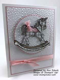 Clean and Simple Baby Card (The Stampin' Schach) Baby Girl Cards, New Baby Cards, Paper Bag Scrapbook, Scrapbook Cards, Horse Cards, Kids Birthday Cards, Baby Shower Cards, Card Making Inspiration, Baby Crafts