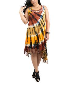 Shoreline Brown & Yellow Tie-Dye Fringe Hi-Low Dress - Plus by Shoreline #zulily #zulilyfinds