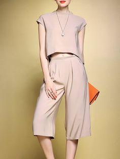 $128 | Khaki Stand Collar Two Piece Sleeveless Pockets #Jumpsuit #Stylewe