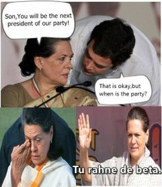 Rahul asks Sonia when and where is the party ;)