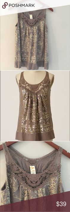 Anthropologie C. Keer Sequin and Crocheted Tunic 100% cotton. Muted brown color embellished with Crocheted bodice and gold sequins. Pullover style Anthropologie Tops