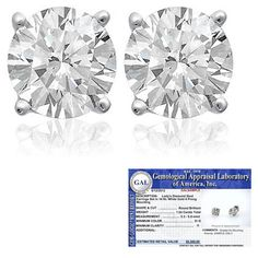 $909.99 - 1.50 Carat Diamond 14K White Gold Certified Stud Earrings! 100% Satisfaction Guaranteed