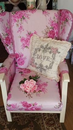 """shabby chic """"wing back chair £120"""