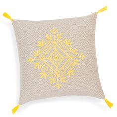 Housse de coussin à pompons en coton jaune 40 x 40 cm IMAN