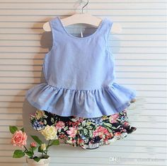 toddler girl clothing sets on sale at reasonable prices, buy 2016 Summer Kids Girls Clothes Flowers Brands Bow Backless Vest+Shorts Baby Suits Toddler Girls Clothing Set from mobile site on Aliexpress Now! Baby Outfits, Kids Outfits Girls, Toddler Girl Outfits, Short Outfits, Girls Dresses, Toddler Girls, Kids Girls, Baby Girls, Baby Boy