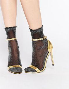Image 1 ofEmilio Cavallini Metallic Sheer Ankle Socks