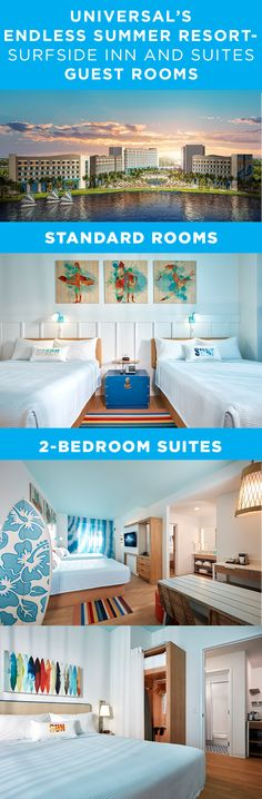 Here's a first look at the surf-inspired guest rooms at our newest hotel - Universal's Endless Summer Resort - Surfside Inn and Suites. Universal Orlando Vacations, Universal Studios Florida, Hotels And Resorts, Rooms, Places, Summer, Gifts, Travel, Quartos