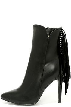 Black High Heel Fringe Booties