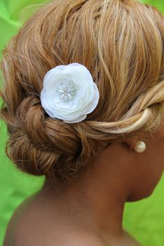small silk white flower with pearl and crystal by PetalPushersHair, $59.99