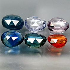 Natural Fancy Color Sapphires Rose Cut Freeforms 6 by SilverFound, $28.50