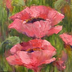 Pink Poppies 9x9 acrylic, painting by artist Karen Margulis