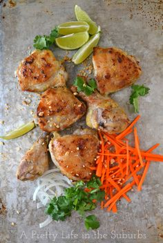 Roasted Coconut Lime Thai Chicken from A Pretty Life in the Suburbs with a lime & coconut  milk, garlic, ginger, brown sugar marinade, serve with rice, shredded carrots, cilantro, and chopped peanuts for a complete and delicious meal