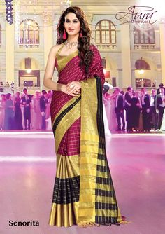 Sarees - Purple, Black And Golden Exquisite Aura Silk Collections - Wedding / Party / Special Occasions Designer Sarees Online Shopping, Latest Designer Sarees, Handloom Saree, Party Wear Sarees, Saree Wedding, Cotton Saree, Special Occasion, Sari, Formal Dresses