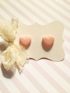 Pastel Peach Heart Stud Earrings by strawberriesncreamm on Etsy