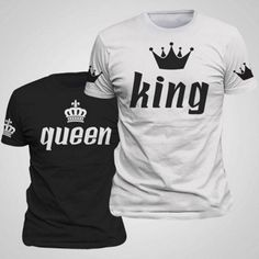 Fashion King & Queen Casual Crown Printing Round Neck Couple Matching Shirts Couple's Summer T-Shirts