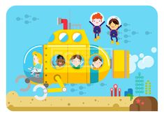 ILL148_008ILL148, 5월이벤트데이, 5월, 이벤트데이, 이벤트, 에프지아이, 벡터, 사람, 생활, 라이프, 캐릭터, 남자, 여자, 어린이날, 소년, 소녀, 어린이, 친구, 단체, 웃음, 쾌활, 행복, 잠수함, 해초, 바다, 잠수부, 잠수복, 오리발, 앉아있는, 일러스트, illust, illustration #유토이미지 #프리진 #utoimage #freegine 19890856