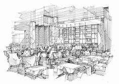 Interior Architecture Drawing, Drawing Interior, Interior Sketch, Architecture Design, Interior Design, Drafting Drawing, Perspective Sketch, Designs To Draw, Concept Art