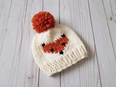 Knit Beanie with Fox Face